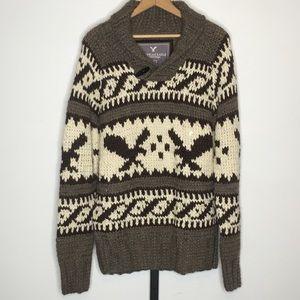 American Eagle Chunky Shawl Collar Sweater Mens L